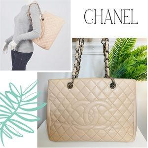 CHANEL Beige Quilted Leather Grand Shopping Tote